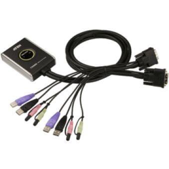 MINI SWITCH KVM 2/1 AUTO - DVI/USB/AUDIO + CABLES