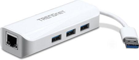 TRENDnet TU3-ETGH3 - Adaptateur USB 3.0 vers Gigabit + Hub 3